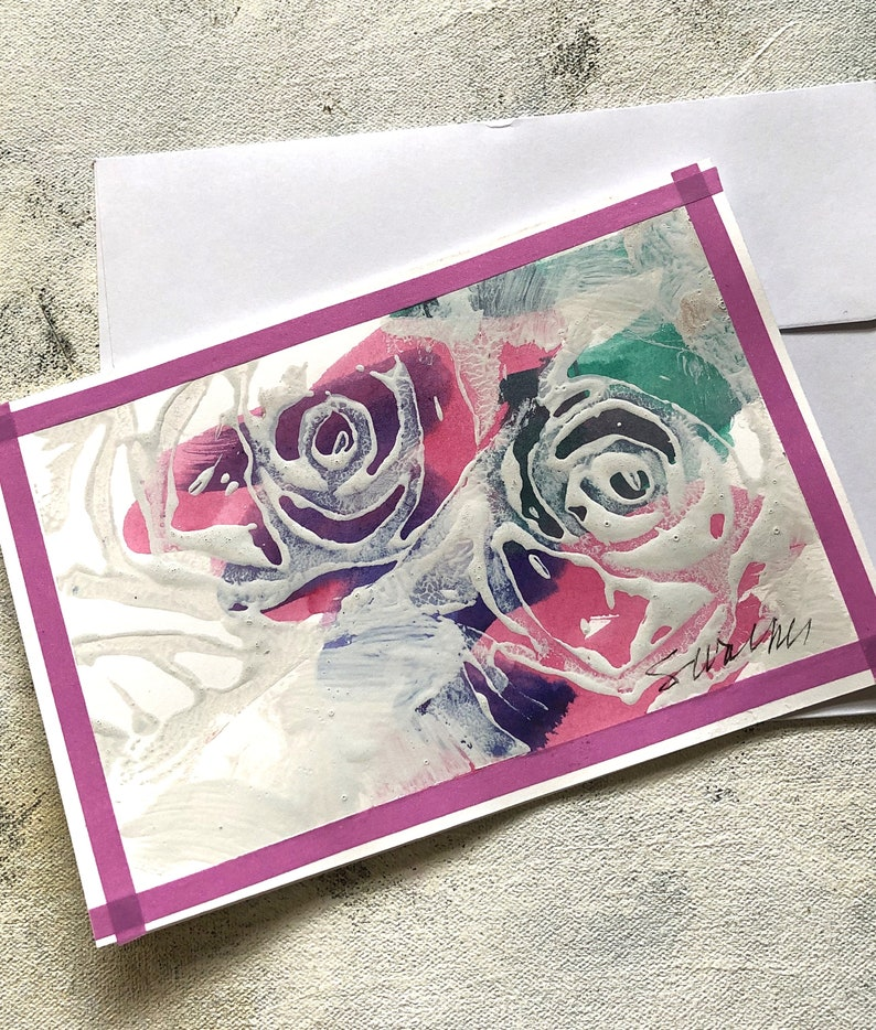 Roses rose border Art Card
