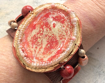 Coral leather cuff upcycled artist palette