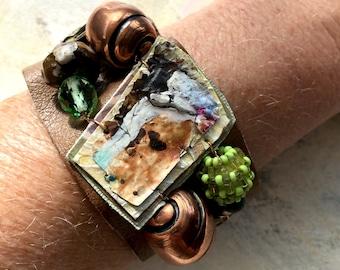 Autumn bracelet upcycled artist palette