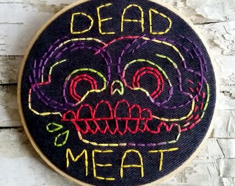 "rainbow DEAD MEAT skull - 5"" hand embroidered wall hanging"