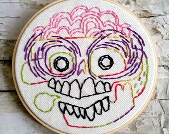 "rainbow brains skull - 5"" hand embroidered wall hanging"