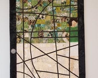 "Unique Modern Stained Glass Door Art Quilt| Green Beige Female Wall Art | Honoring Women Art Quilt |""Inner Threshold"""