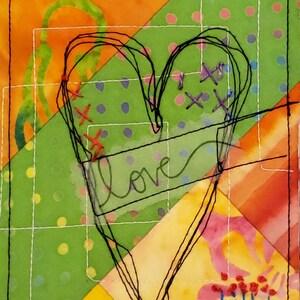 Orange Accent Love Decor 4 Inch x 6 Inch Art Collage Small Art Quilt Orange Heart Valentine  Art Julie Bagamary Art Snail Mail
