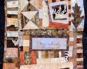Unique Brown Blue Abstract Art Quilt |  Masculine  Brown Wall Decor |  Oak Leaf Art Decor | Pray Continually Art | I Thessalonians 5:17 Art