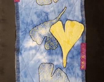 "Golden Ginkgos Art Quilt | Wall Hanging | 12"" x 24"" Wall Decor | Yellow Ginkgo Leaves Art | Julie Bagamary Art"