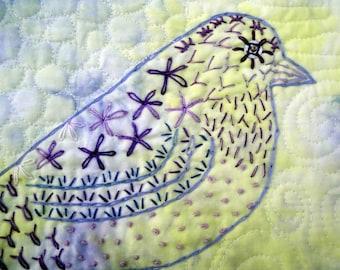 Sentinel | Modern Hand Embroidered Purple Bird Quilted Wall Art|  Unique Bird Lover Art | Yellow Purple Bird Wall Art