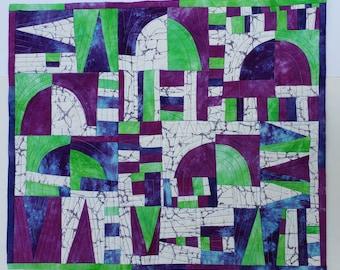"Unique Purple Green White Art Wall Quilt | ""Enter In"" | Original Purple Wall Decor | Art Quilt | Arches Art"