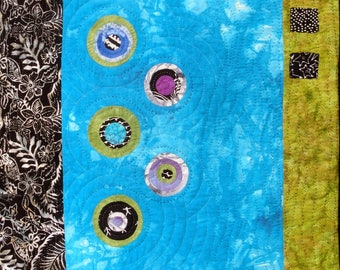 """Modern Abstract Teal And Lime Art Quilt 
