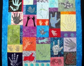 Unique Hand Art Quilt | What's In Your Hand? |  Modern Fiber Arts Quilt | Hands Wall Art | Modern Hand Decor | Hand Art | Julie Bagamary Art