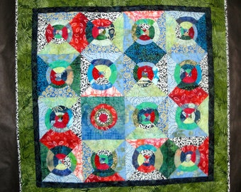 """Unique Red Blue Green Modern Batik Art Quilt  