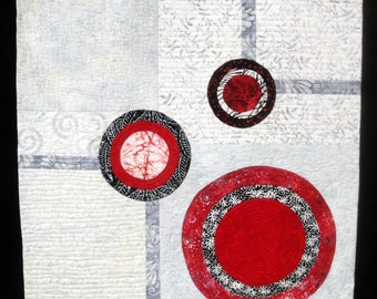 """Red Black  Gray Modern Art Quilt  Wall Hanging 