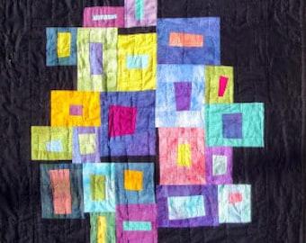 "Contemporary Rainbow Art Quilt | ""Windows To The Soul"" | Modern Black Rainbow Quilt Art | Abstract Wall Art | Julie Bagamary Art | Black Art"