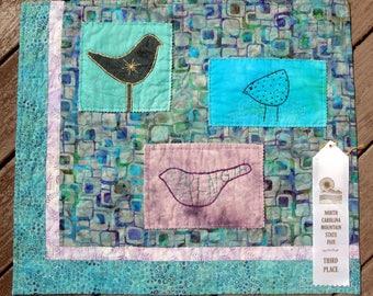 Tweet Trio |Modern Aqua Purple Wall Quilted Art | Unique Whimsical Bird Wall Art