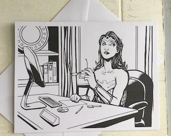 Wonder Woman Wondering Blank Card
