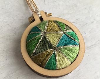 Embroidered Emerald Pendant