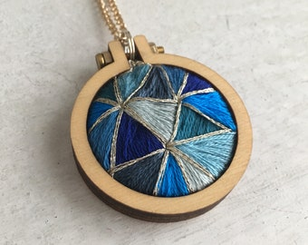 Embroidered Sapphire Pendant