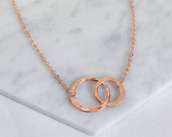 Rose Gold Eternity Circles Necklace