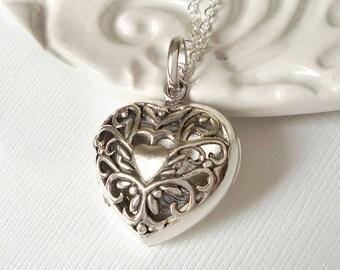 Sterling Silver Filigree Heart Locket