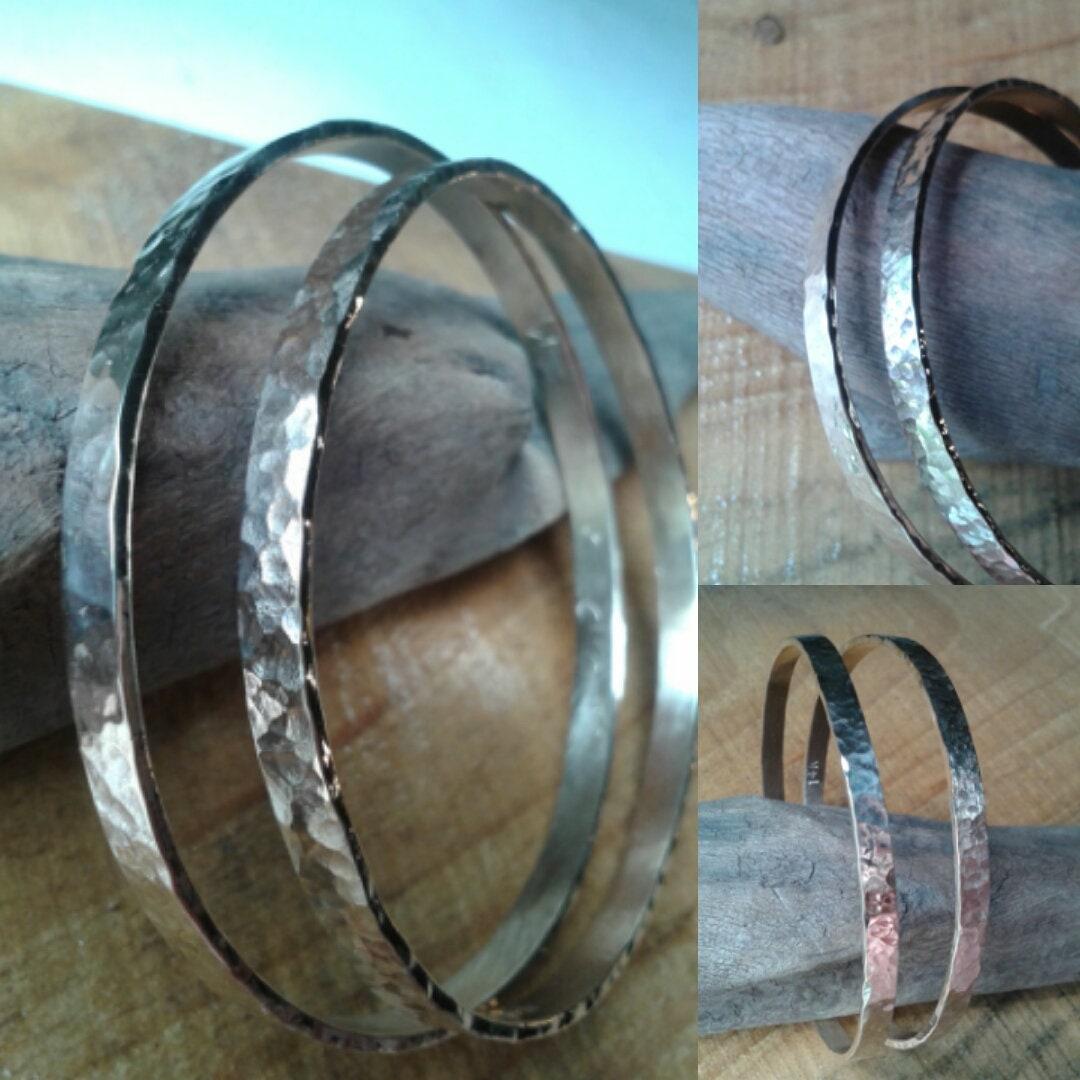 09057ca4564 14K Solid Gold hammered dimple texture Bangle Bracelet Set   Etsy