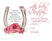 Horse Shoe, Gettin Lucky, Kentucky Derby Party Invitations, Printable, Digital Download, Derby Party, Jockey, horse