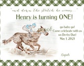 Set of 20 First Birthday Invites, 5x7,  Kentucky Derby Party Invitations, Derby Party, horse, races,