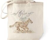 Cotton  tote bag, watercolor, horses, derby, Kentucky, horse race, southern, belmont, jockey