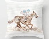 Jockey on Horse Pillow, D...