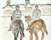 REPRINT: Call to Post, Kentucky Derby, Jockey, Watercolor, Original Art, Churchill Downs