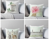 Set of 4 Derby Pillows, 16x16 cover only , Run for Roses, Kentucky Derby, Watercolor, Churchill Downs