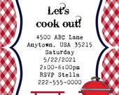 Set of 20 First Birthday Invites, 4x6, custom, barbecue, summer, grill out, personalized