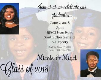 twins graduation announcement invitation class of 2018 3 etsy
