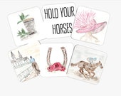 Set of 6 Kentucky Derby coasters, Derby, Horse race, Watercolor, Glass cork, custom