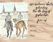 KY Derby 2020, Fall, autumn, digital invite, download, southern, watercolor, horses, races