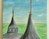 Original Acrylic Painting, Twin Spires, Churchill Downs, Louisville, Kentucky, Derby, 12x12