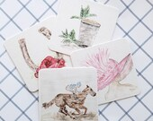 Set of four heavyweight paper reusable coasters, Run for Roses, Kentucky Derby, Watercolor, Churchill Downs