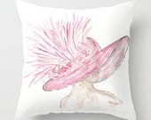 Derby Hat Pillow, Pink, R...