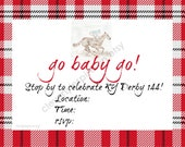 Go Baby Go Invite, 4x6, Kentucky Derby Party Invitations, Printable, Digital Download, Derby Party, Jockey, horse, red & black