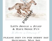 Set of 30 First Birthday Invites, 5x7,  Kentucky Derby Party Invitations, Derby Party, horse, races,