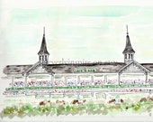 Original Watercolor, Original Art, Churchill Downs, Louisville, Kentucky, Derby, Father's Day