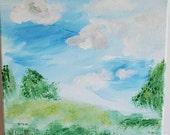 Original Acrylic Painting, sky, farm, green, landscape, lush, tree, 12x12