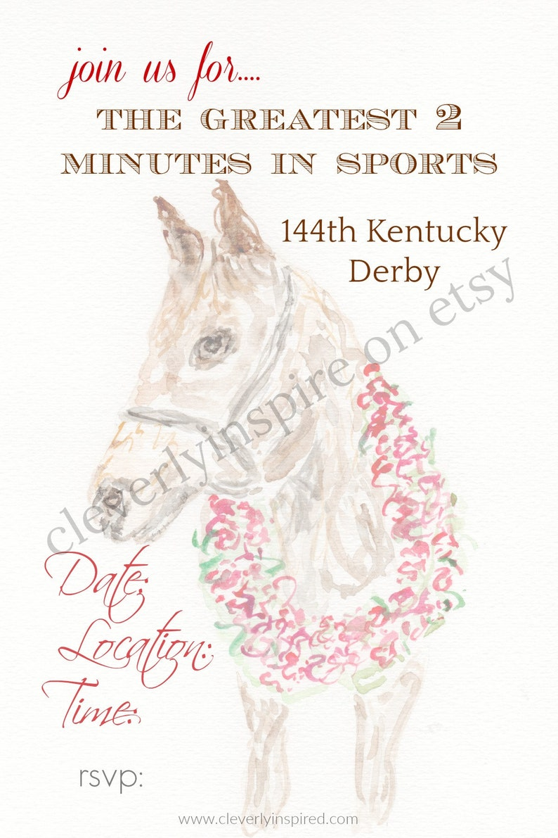 Horse with Roses Kentucky Derby Party Invitations Printable image 0