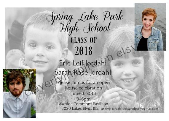 twins boy girl 5x7 graduation announcement invitation 3 etsy