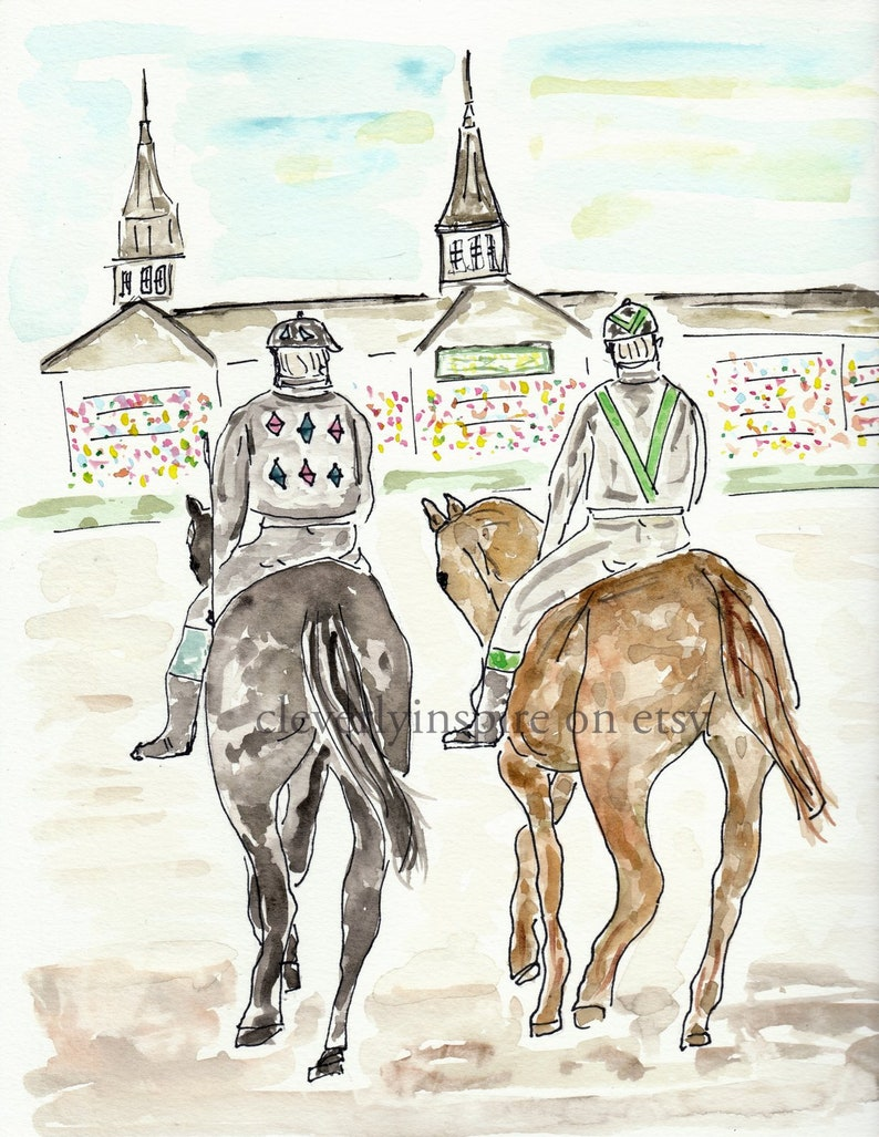 Custom listing Watercolor Original Art Churchill Downs image 0