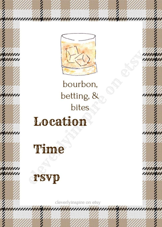 Bourbon Invitation 5x7  Kentucky Derby Party Invitations image 0
