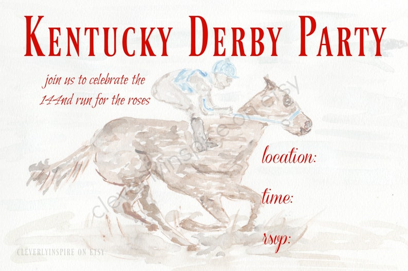 Kentucky Derby Party Invitations Printable Digital Download image 0