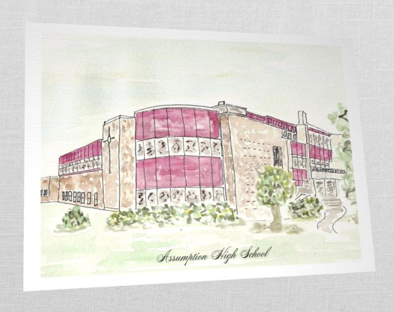 KY Watercolor SET of 30 Louisville Custom High School Notecards Assumption