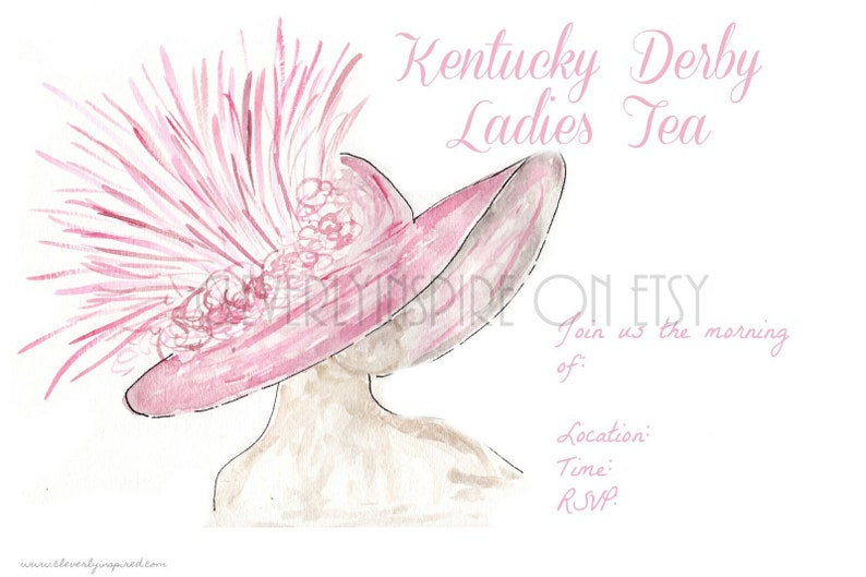 Ladies Tea Invite Derby Hat Kentucky Derby Party image 0