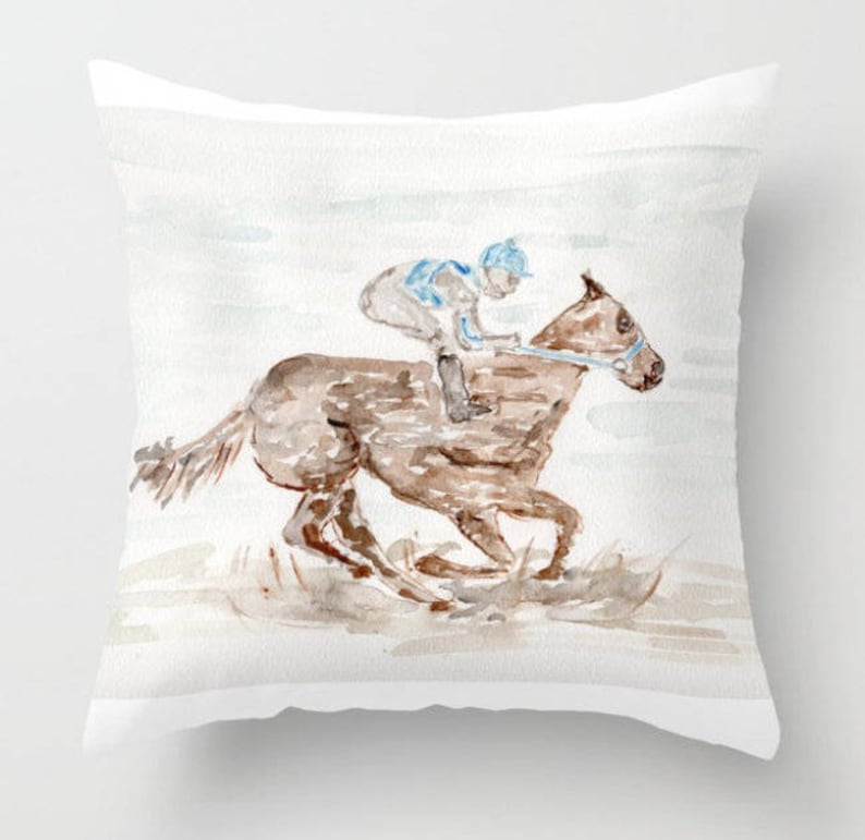 Jockey on Horse Pillow Derby Kentucky Races Southern image 0