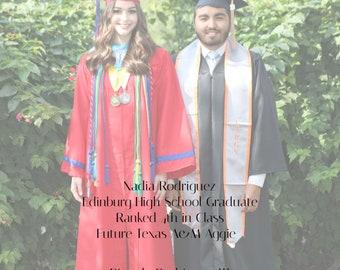 5x7 Graduation Announcement,twins, boy girl, class of 2019