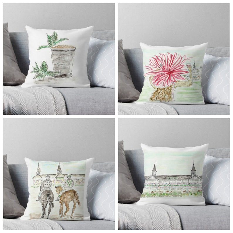 Set of 4 Derby Pillows 16x16 cover only  Run for Roses image 0